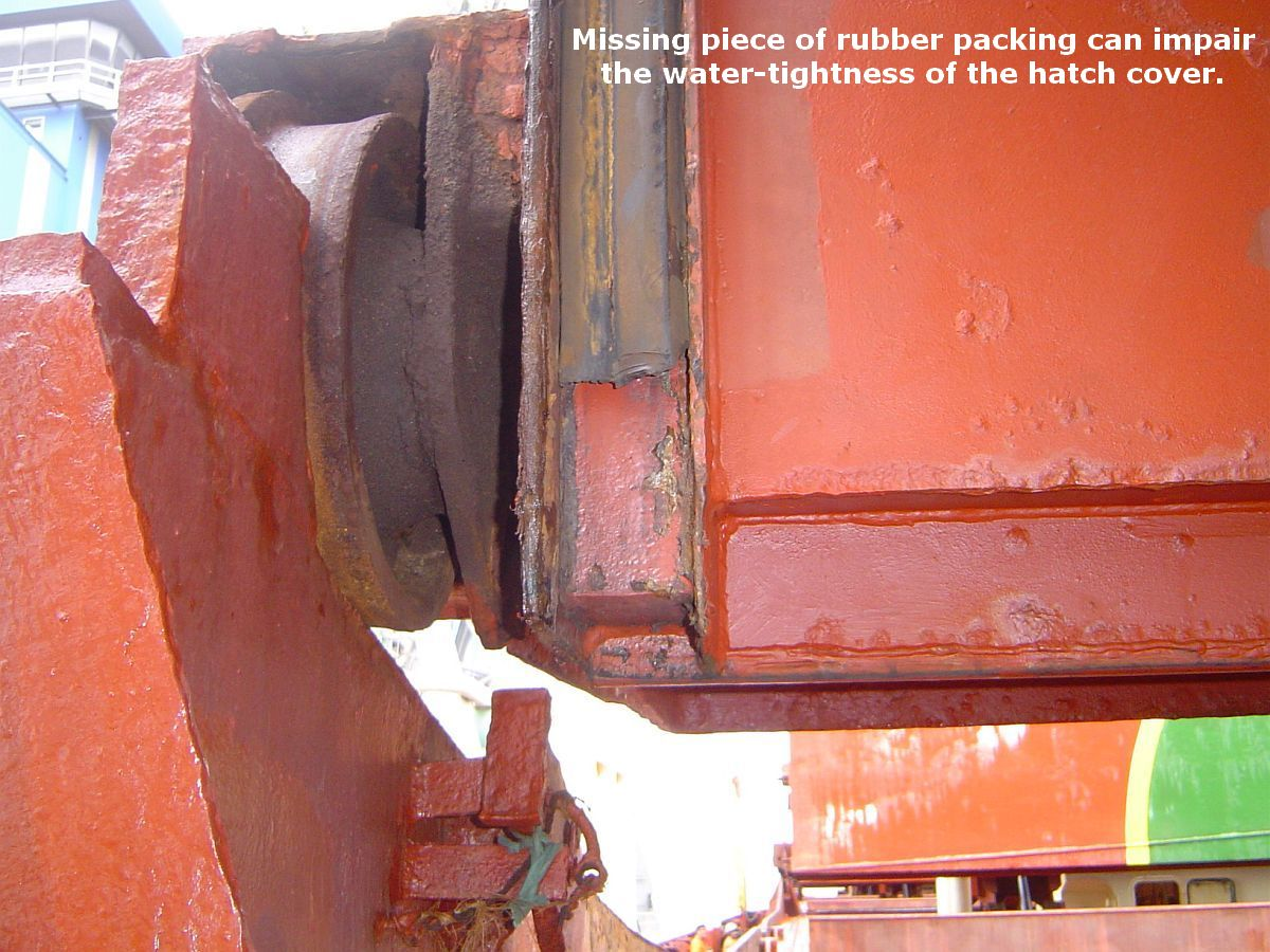 rubber packing mising from hatch cover