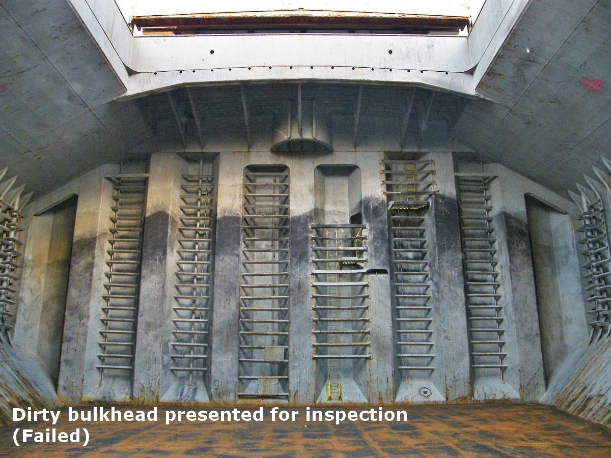 dirty bulkhead offered for inspection